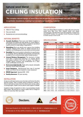 Terra Lana CEILING Insulation product sheet